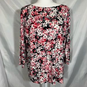 J. Jill Wearever Collection floral boatneck blouse